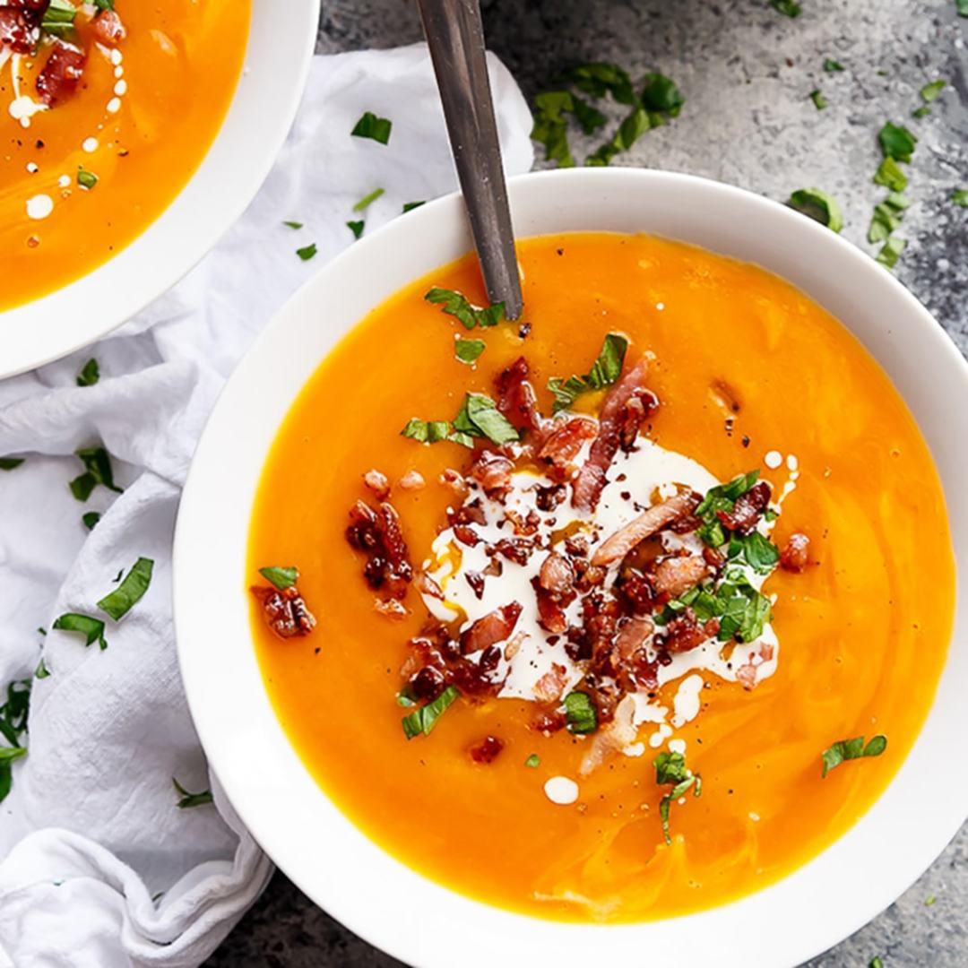 Крем-суп из чечевицы с беконом